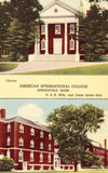 Linen postcard front. American International College - Springfield,Massachusetts