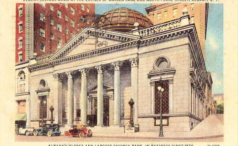 Linen Postcard Front.Albany Savings Bank - Albany,New York