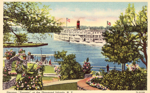 "Linen postcard front. Steamer ""Toronto"" at The Thousand Islands,New York"