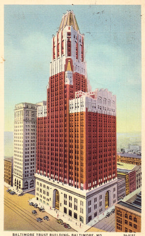 Linen postcard front. Baltimore Trust Building - Baltimore,Maryland