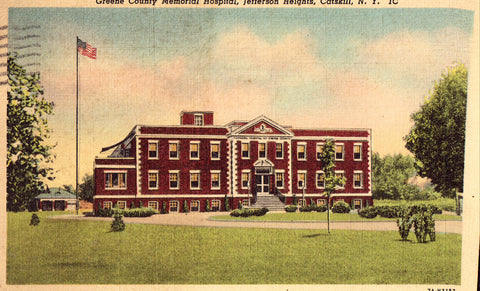 Linen postcard front. Greene County Memorial Hospital - Jefferson Heights,Catskill,New York
