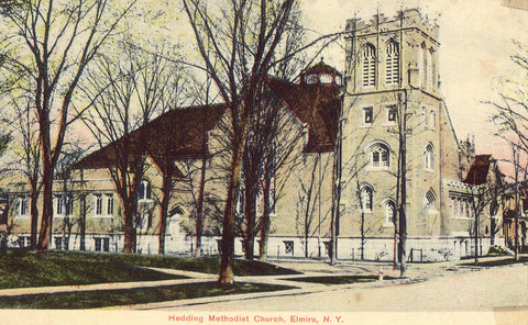 Vintage postcard front. Hedding Methodist Church - Elmira,New York