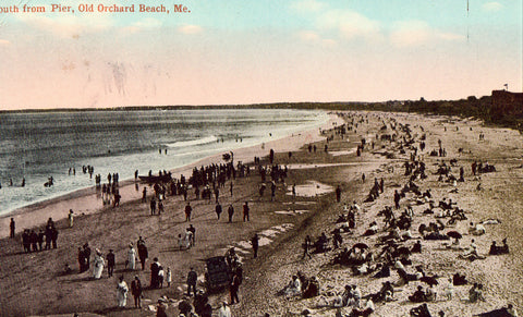 Vintage postcard front. South from Pier - Old Orchard Beach,Maine