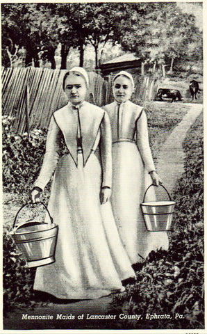Vintage postcard front. Mennonite Maids of Lancaster County - Ephrata,Pennsylvania