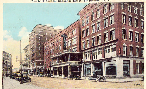 Old postcard front. Hotel Carlton - Binghamton,New York