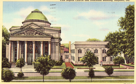 Linen postcard front. First Baptist Church and Education Building - Augusta,Georgia