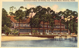 Linen postcard front. Sportsman's Fishing and Hunting Club - Paradise Beach,Pensacola,Florida