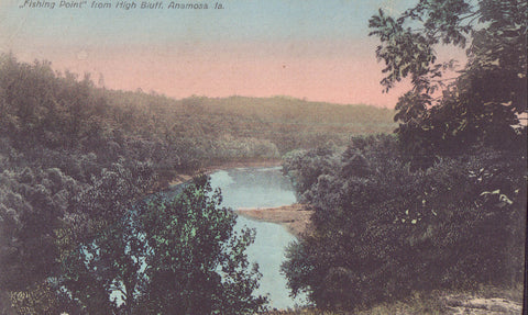 """Fishing Point"" from High Bluff-namosa,Iowa 1910 - Cakcollectibles"
