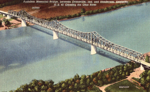 Linen postcard front. Audubon Memorial Bridge over the Ohio River-Evansville,Indiana