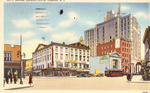 Linen postcard front. Getty Square,Looking South - Yonkers,New York
