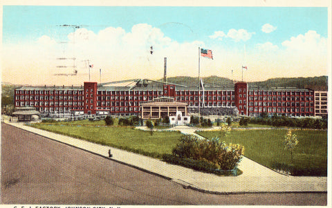 Vintage postcard front. C.F.J. Factory - Johnson City,New York