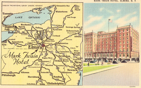 Linen postcard front. Mark Twain Hotel - Elmira,New York