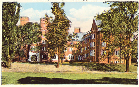"Retro Postcard Front. ""Sarah Tompkins Hall"",Elmira College - Elmira,New York"
