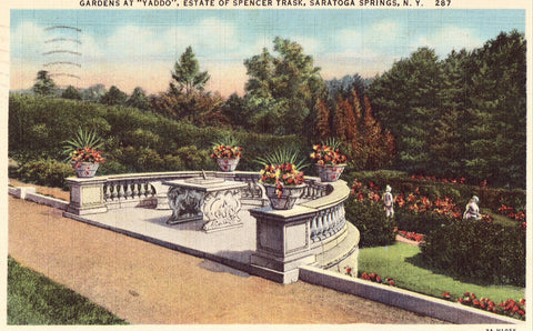 "Linen postcard front. Gardens at ""Yaddo"",Estate of Spencer Trask - Saratoga Springs,N.Y."