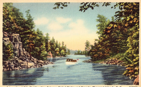 Linen postcard front. International Rift,Dividing Line between U.S. and Canada - Thousand Islands,N.Y.