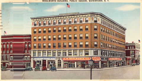 Linen postcard front. Woolworth Building,Public Square - Watertown,New York