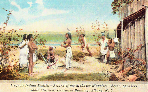 Linen Postcard Front- Iroquois Indian Exhibit - Albany,New York