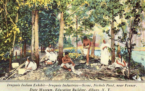 Linen Postcard Front - Iroquois Indian Exhibit - Albany,New York