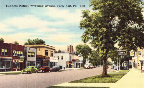 Linen postcard front. Business District,Wyoming Avenue - Forty Fort,Pennsylvania