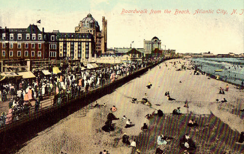 Vintage postcard front. Boardwalk from The Beach - Atlantic City,New Jersey