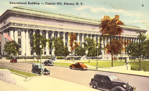 Linen postcard front.  Educational Building - Capitol Hill,Albany,New York