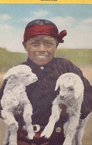 Linen Post Card-Navajo Kids 1951