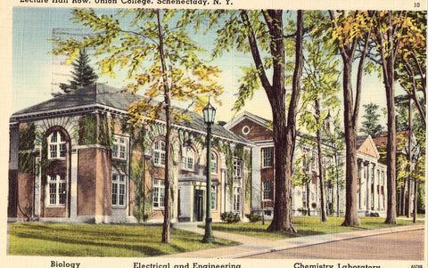 Linen postcard front. Lecture Hall Row,Union College - Schenectady,New York