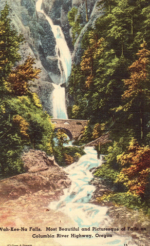 Linen postcard front. Wah-Kee-Na Falls on Columbia River Highway - Oregon
