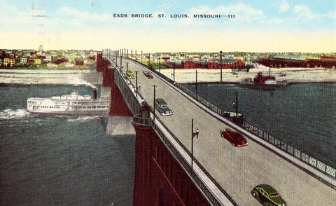 Linen postcard front. Eads Bridge - St. Louis,Missouri