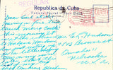 Vintage postcard back. Capitol Building by Night - Havana,Cuba