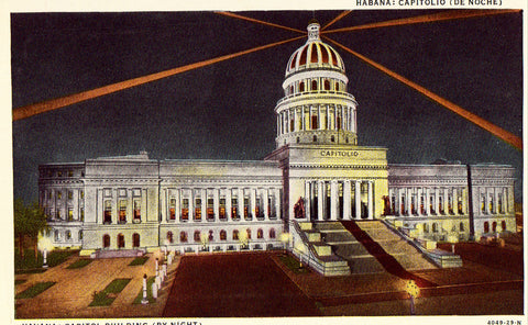Vintage postcard front. Capitol Building by Night - Havana,Cuba