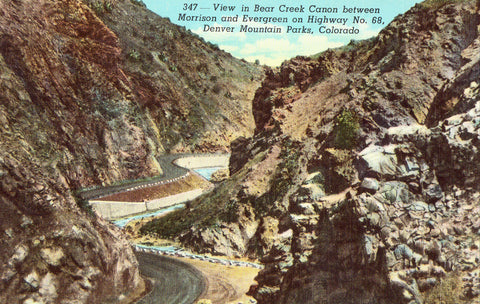 Vintage postcard front. View in Bear Creek Canon - Denver Mountain Parks,Colorado