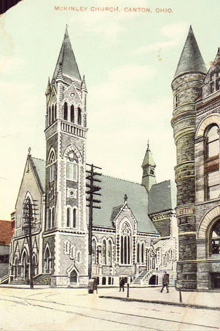 Vintage postcard front. McKinley Church - Canton,Ohio