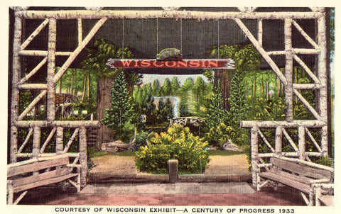 Vintage Postcard Front- Courtesy of Wisconsin Exhibit - A Century of Progress 1933