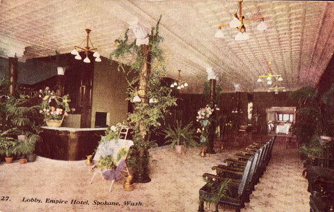 Vintage postcard front. Lobby,Empire Hotel - Spokane,Washington