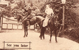 "Vintage Postcard Front - Man and Woman on Horses ""See You Later"""