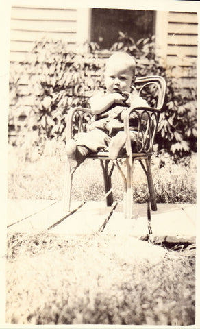 RPPC front - Small Boy Sitting in A Chair