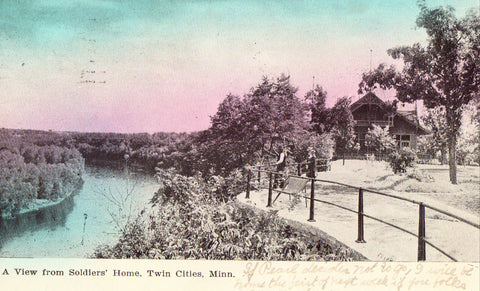 Vintage postcard front - A View from Soldiers' Home - Twin Cities,Minnesota