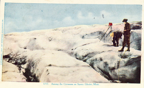 Vintage postcard front - Among the Crevasses on Sperry Glacier - Montana