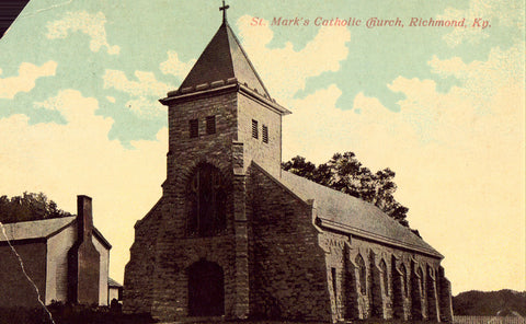 vintage postcard front St. Mark's Catholic Church - Richmond,Kentucky