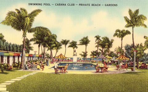 Linen postcard front - Swimming Pool and Cabana Club,The Sands Hotel - Miami Beach,Florida