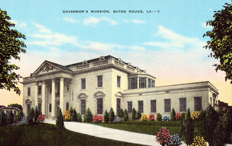 Linen postcard front - Governor's Mansion - Baton Rouge,Louisiana