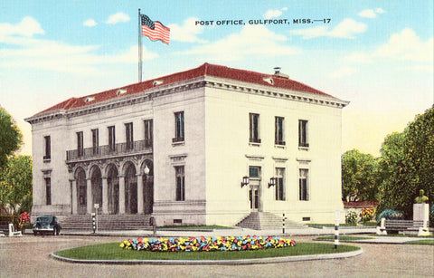 Linen postcard front - Post Office - Gulfport,Mississippi