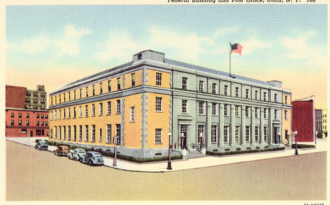 Linen post card front - Federal Building and Post Office - Utica,New York