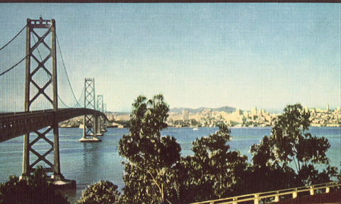 Linen postcard front - Bay Bridge,Looking Toward San Francisco from Yerba Buena Island - California