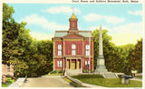 Linen postcard front - Court House and Soldiers Monument - Bath,Maine