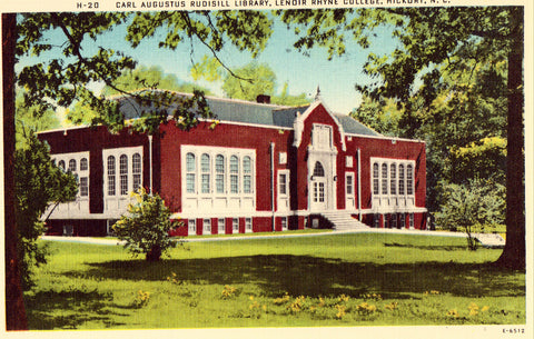 Linen postcard front - Carl Augustus Rudisill Library - Hickory,North Carolina