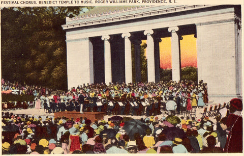 Vintage postcard front - Festival Chorus,Benedict Temple to Music,Roger Williams Park,Providence,R.I.