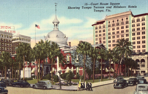 Linen postcard front - Court House Square - Tampa,Florida