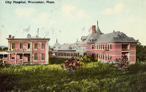 Vintage postcard front - City Hospital - Worcester,Massachusetts